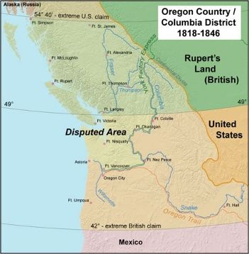June 15, 1846: The Oregon Treaty establishes the 49th parallel as the border between the United States and Canada, from the Rocky Mountains to the Strait of Juan de Fuca.