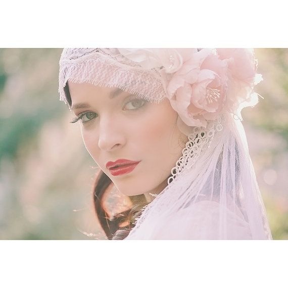 Pastel Blush Juliet Bridal Cap Chantilly by EricaElizabethDesign, $455.00