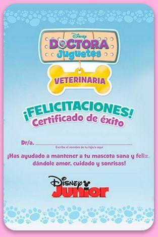 Certificado de Doctora Juguetes Veterinaria para imprimir y divertirse jugando