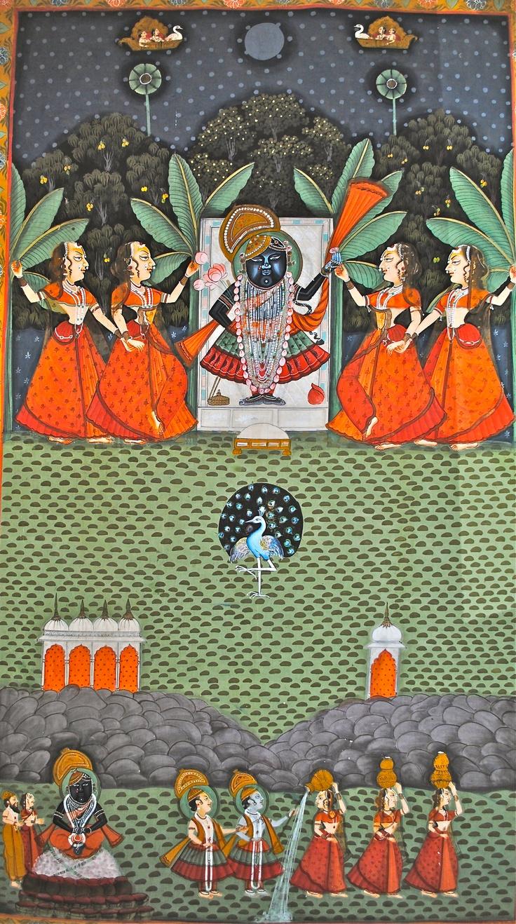 Lord Krishna, the gopis, and the rasa dance. Hand-painted on cotton, Uttar Pradesh.