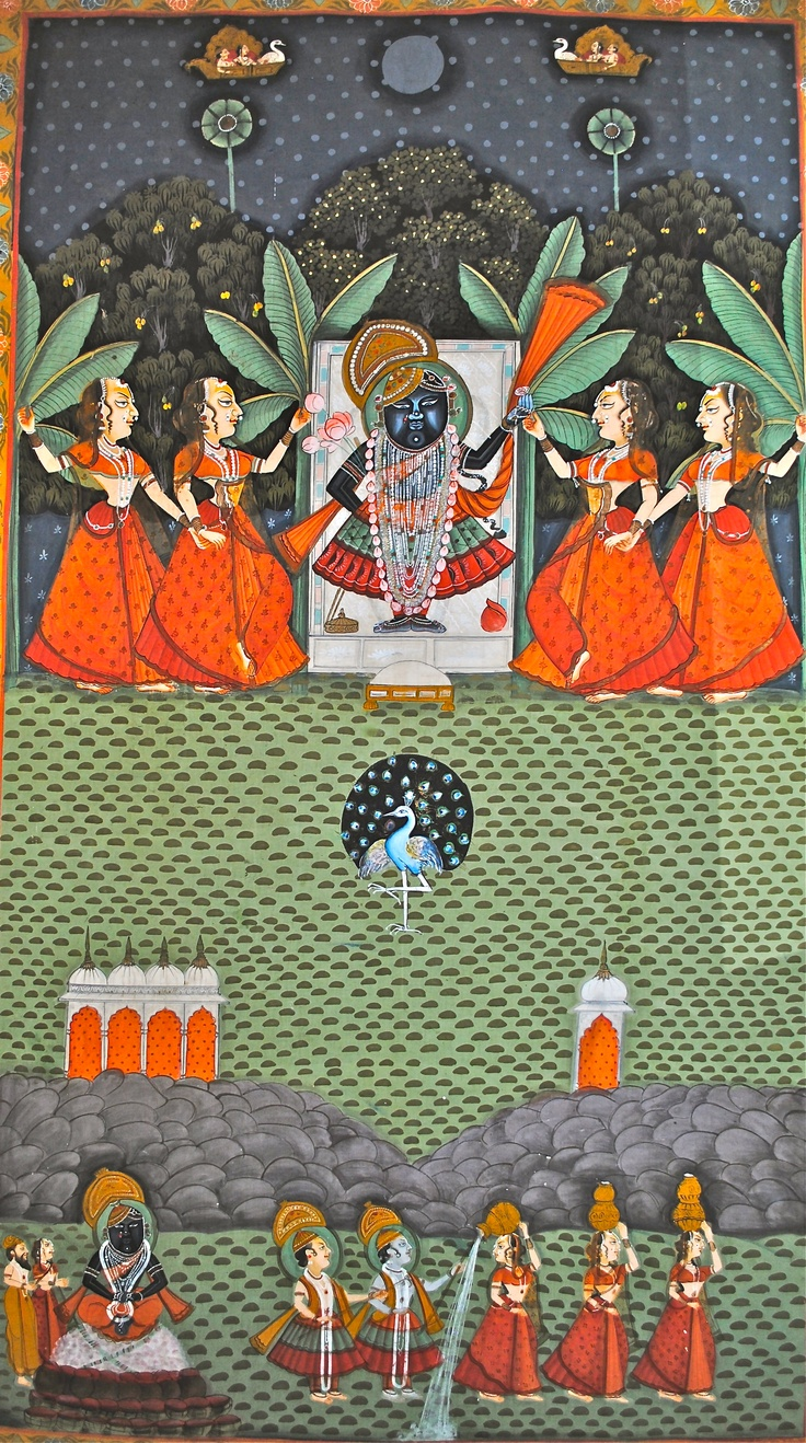 Lord Krishna, the gopis, and the rasa dance. Hand-painted on cotton, Uttar Pradesh.