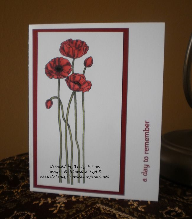 Card 6 of 24 designed by Tracy Elsom for a personal World Cardmaking Day challenge uses the Pleasant Poppies background stamp and Blendabilities from Stampin' Up!   #WCMD2014  http://tracyelsom.stampinup.net