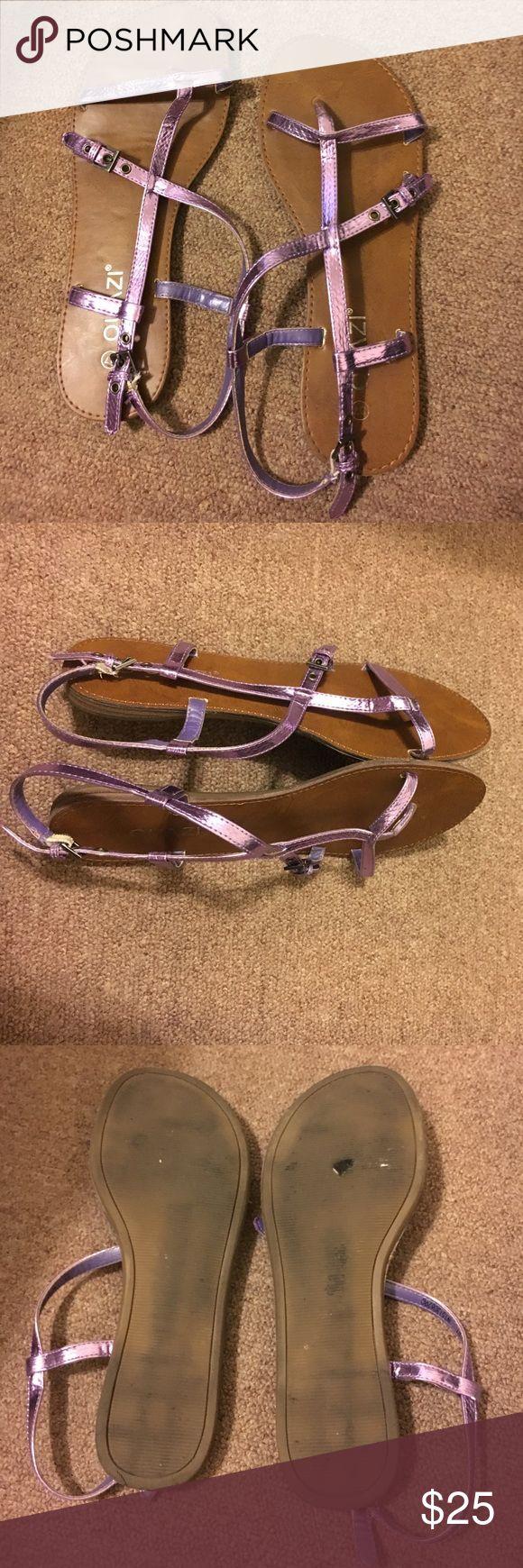 Authentic European Metallic Sandals! 7M Super comfy purple Metallic sandals! Quazi Shoes Sandals