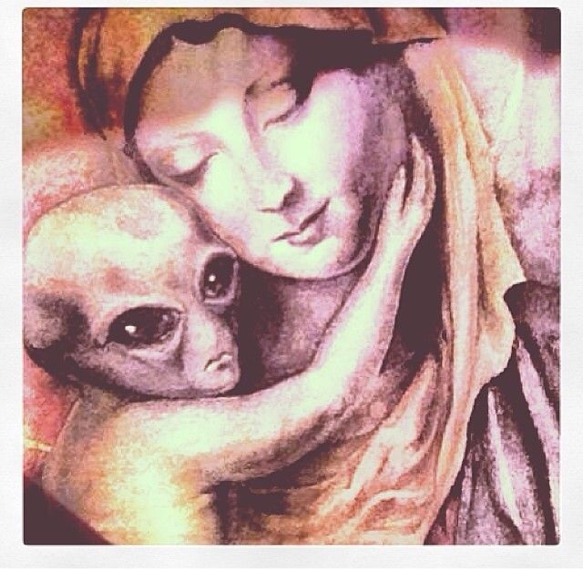 """midnightowlz:  """"The """"Immaculate Conception""""  This is my theory. She was astrally impregnated by an extraterrestrial, which means the rapture could be for those who come to understand the meaning of life and figuring that out changes life as they know..."""