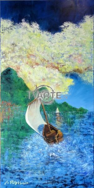 """Nel Vento"" Artista: Gianluca Rebollini Categoria: paesaggistico Olio su tela 50x100 #TvArte"