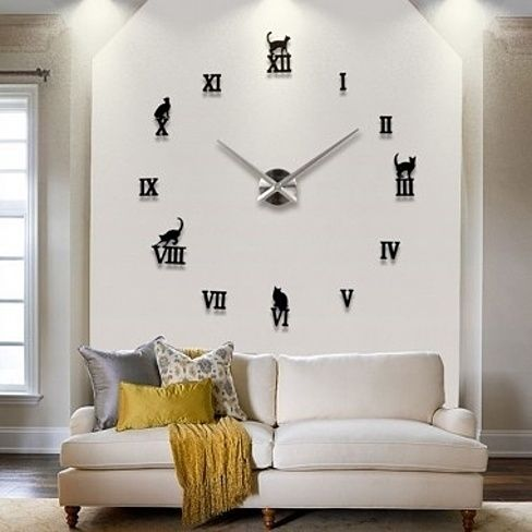 DIY Large Wall Clock 3D Sticker Rome Numerals Big Watches Home Decor Gift