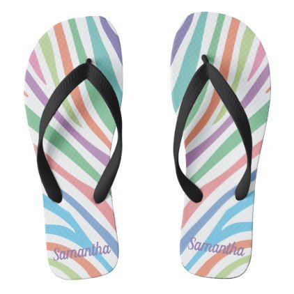#Pastel Tiger Stripes Flip Flops - #womens #shoes #womensshoes #custom #cool