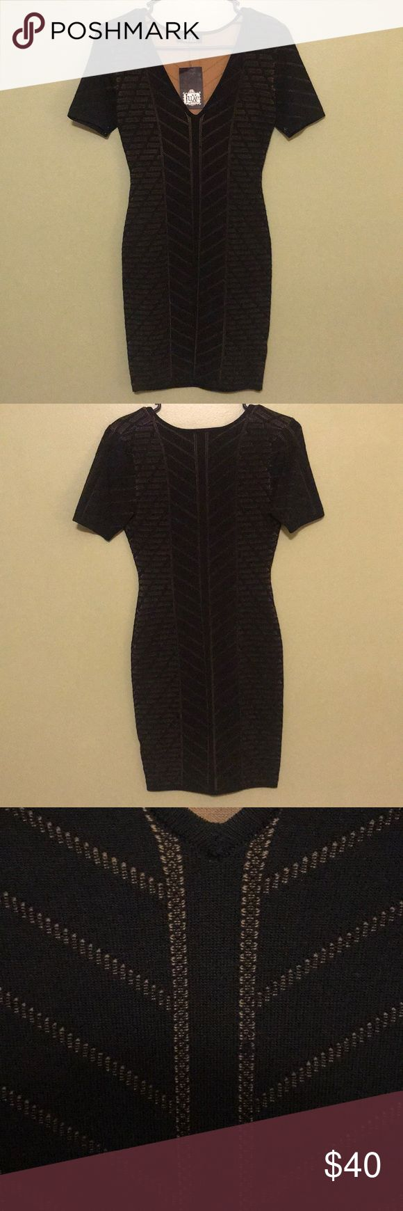 Black and Nude Bodycon Dress NWT! From local boutique here in Chattanooga, TN. Dress is black with a nude underlay that shows through the gorgeous detailing on the dress-please see pictures.  Looks absolutely stunning on and perfect for a night out on the town or date night! *From smoke free home Luxe Dresses Mini