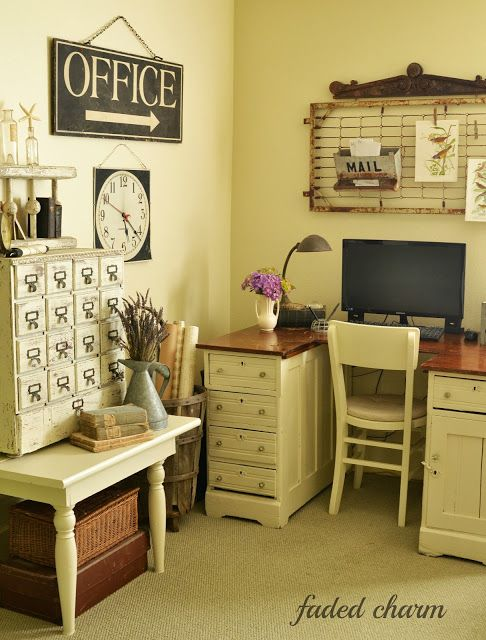 """Love this """"OFFICE""""!!!..  And the crib spring above the desk; love that too!"""