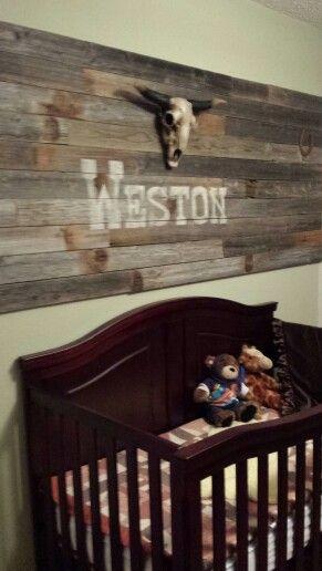My grandson Weston's room I designed & created. His Auntie Abbey helped! Western rustic boy nursery