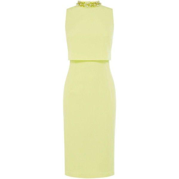 Coast Petrina shift dress ($44) ❤ liked on Polyvore featuring dresses, chartreuse, clearance, chartreuse dress, lined dress, structured shift dress, beige sparkly dress and sparkle shift dress