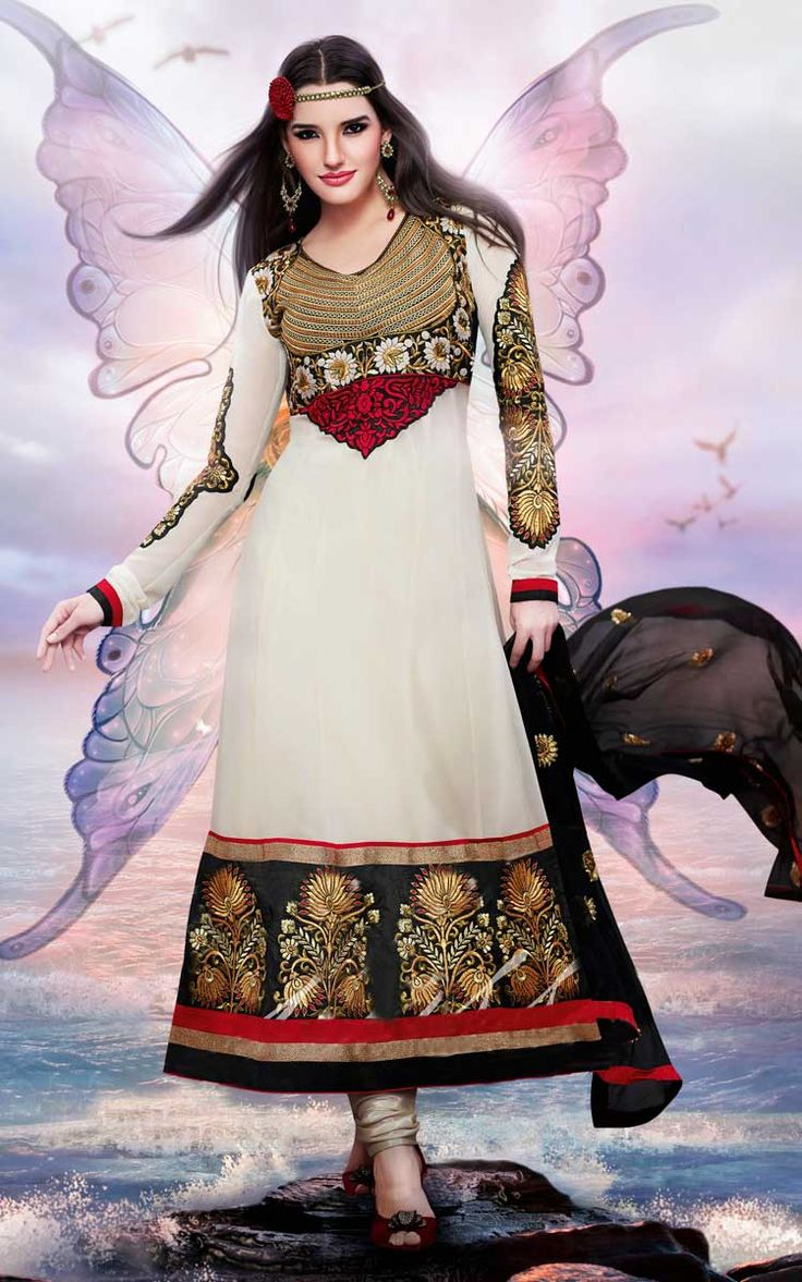 OFF WHITE & BLACK GEORGETTE ANARKALI SALWAR KAMEEZ - DIF 30155