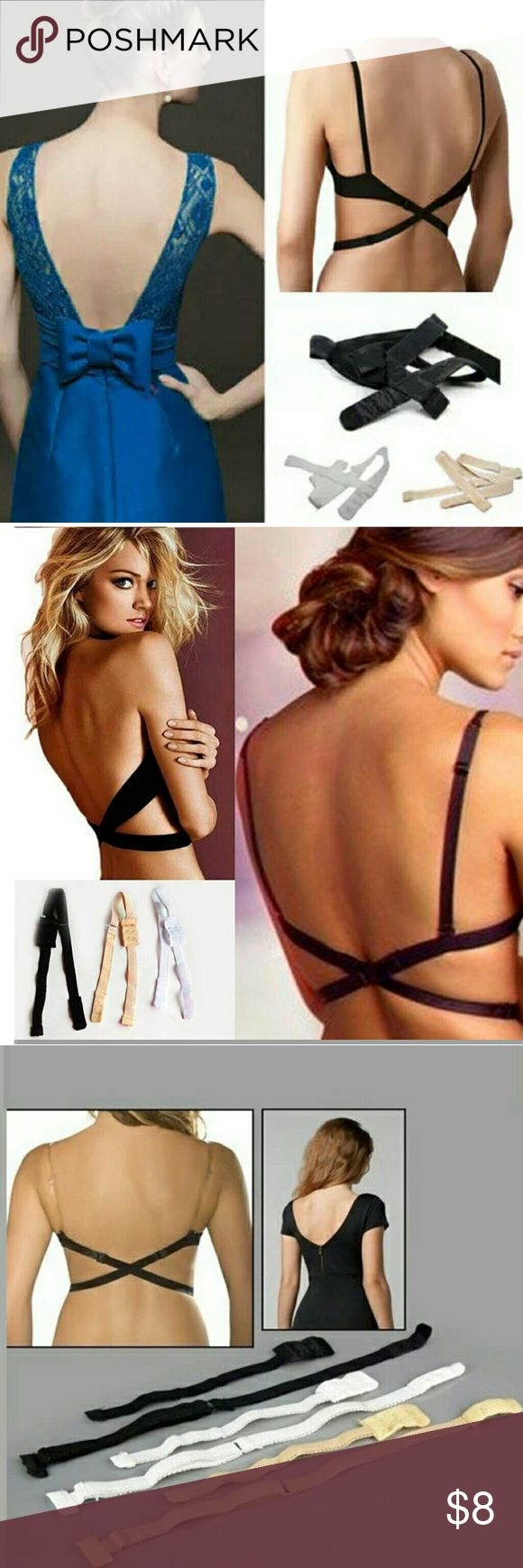 Low Back Backless Bra Strap Extender A perfect solution for your low back tops and summer dress.  Fully adjustable bra adapter strap, simply attach it to the bra, cross over behind and fasten the strap in the front.  Can be attached to any bra and fully adjustable  Condition: 100% Brand New  Available Color: Black, White, Beige Accessories