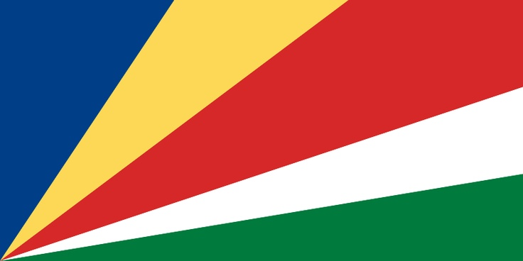 National flag of Seychelles from http://www.flagsinformation.com/seychelles-country-flag.html  Five oblique bands of blue (hoist side), yellow, red, white, and green (bottom) radiating from the bottom of the hoist side.