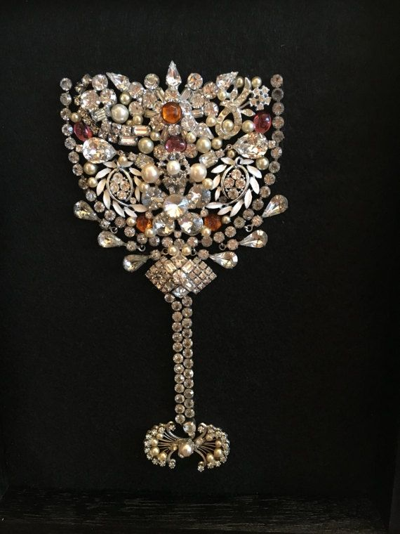 Framed vintage jewelry wine glass-diamonds by KajaVintageCreations