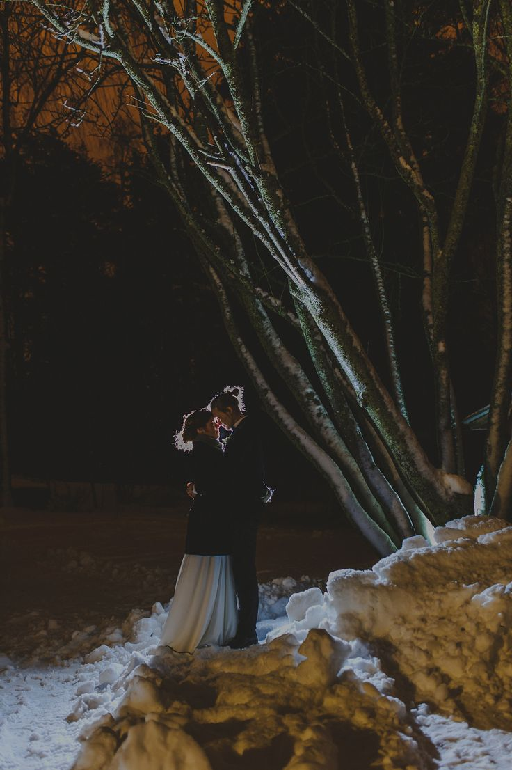 Snowy winter wedding portrait under a tree lit with a powerful flashlight.