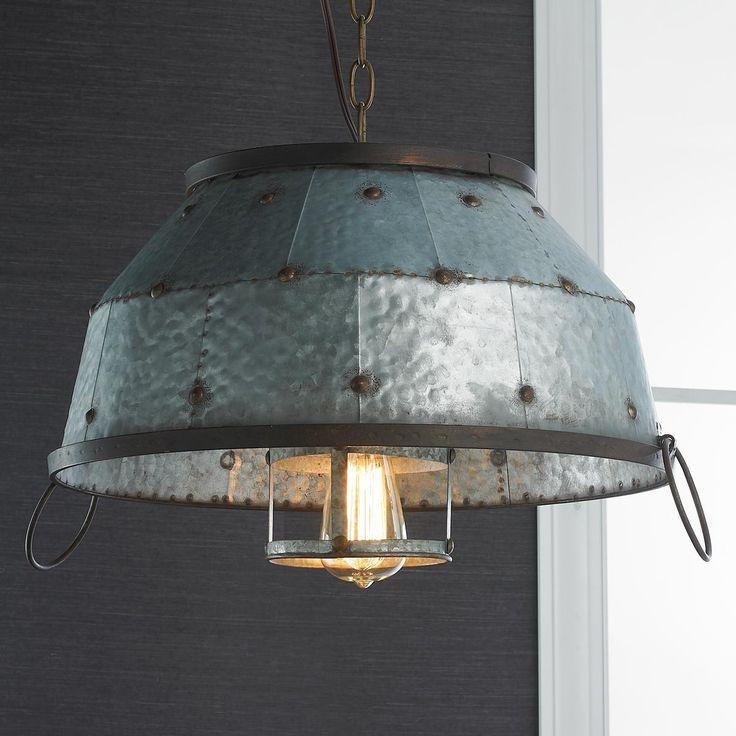 Funky Rustic Galvanized Pendant Light Via Etsy: Framed Crystal Glam Square Ceiling Light
