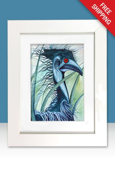 A limited edition print [100] of an original watercolour painting of my blue emu character called Caeruleus.