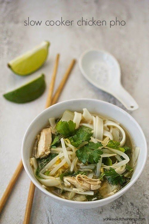 Easy crockpot chicken pho noodle soup: