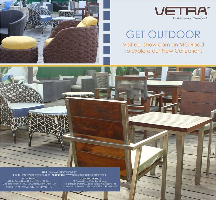 Vetra Furniture is one of the best places where you can shop the best collection of outdoor furniture. You can shop according to the size and weather condition of the area. For more details click here-  https://medium.com/@furniturevetra/best-collection-of-outdoor-furniture-available-at-vetra-furniture-a9281199343d#.1sc0op4dq
