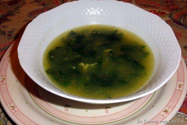 Minestra con spinaci,uovo e riso