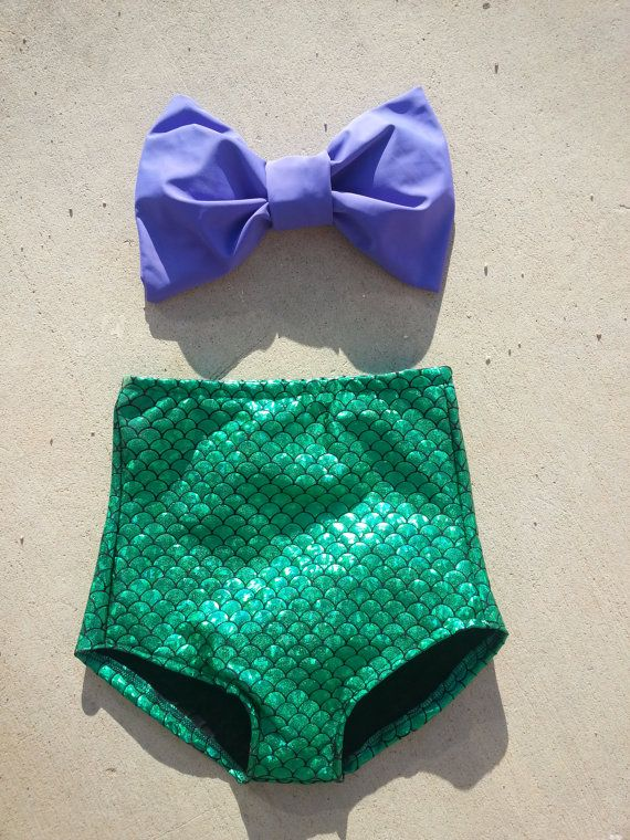 The Little Mermaid  Bow bandeau top with high waisted bikini bottoms on Etsy, $55.00  This is tooo cute if I was skinny and hard red hair it'd be amazing :)