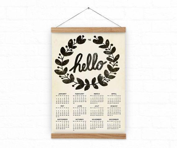 Wall calendar 2016  Home decor  hello   A3 A3 size  100% by DURIDO
