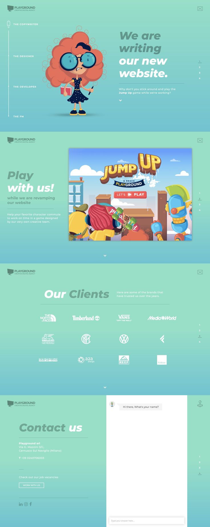 How funny are these cliche digital agency characters in this launching soon page for Playground studio. Great to see fun vibe run throughout including an interactive game and a chat bot at the end with the developer/robot 🤖