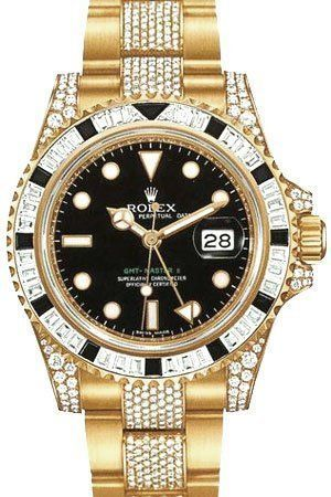 ♛ Gorgeous Rolex GMT Master II Yellow Gold Watch, Black Sapphire/Diamond Bezel, Black Dial
