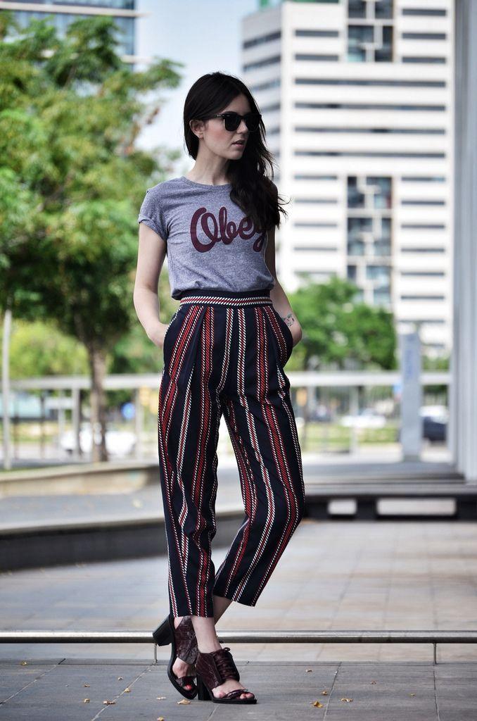 stripe pants, graphic tee