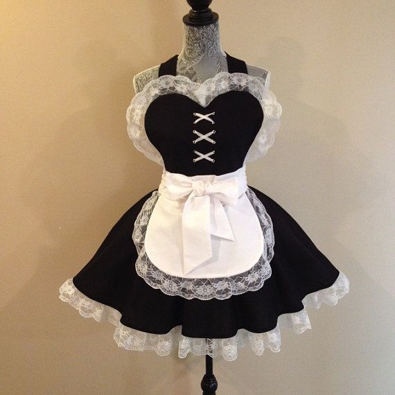 French Maid Nidalee Sexy white lace on black. by AriaApparel