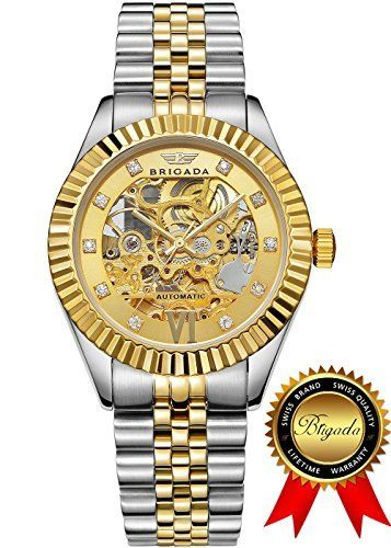 BRIGADA Swiss Watches Luxury Gold Automatic Watches for Men, Nice Mechanical Men's Watches  #automatic #BRIGADA #gold #Luxury #mechanical #Men's #nice #swiss #watches MonitorWatches.com