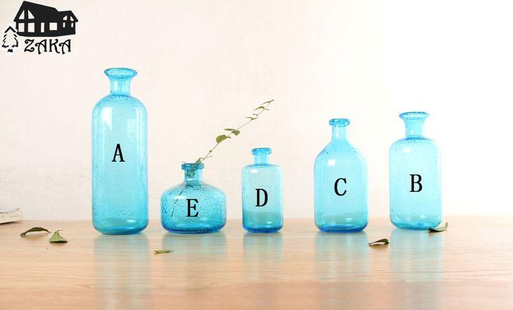 Новое поступление Zakka северные морской стиль синий пузырь стеклянные вазы ручной сдувший вазы для цветов спальня стол ваза просто украшение дома купить на AliExpress