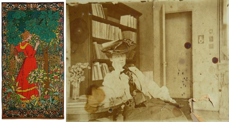 Zsombor Jékely /   Lazarine Baudrion, wife, muse and model of painter József Rippl Rónai. She executed the textile works designed by Rippl-Rónai, such as the tapestry of Lady in Red (1898, attached).