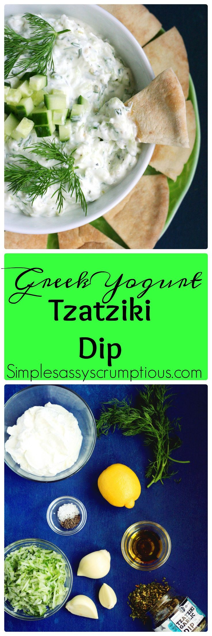 Greek Yogurt Tzatziki dip is a crisp refreshing dip that is super easy to make. Use Tzatziki as a dip with Pita bread or on grilled meats and burgers.