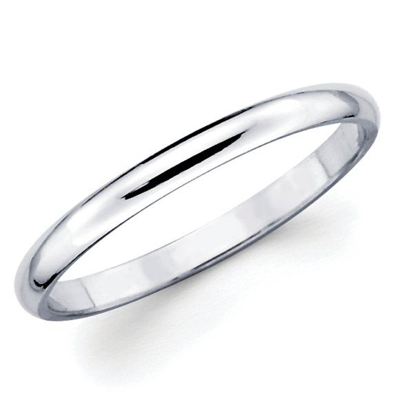 10K Solid White Gold 2mm Plain Wedding Band by TheJewelryGalleria, $56.95