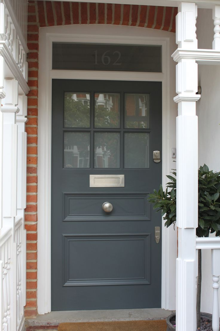 1930s front door in West London with plain, sandblasted glass