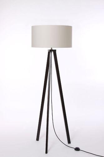 Stehleuchte 3-Bein Eiche wenge-farben, Textilkabel schwarz, Lampenschirm Zylinder D.50 cm, über 150 verschiedene Stoffe und Farben zur Auswahl, Made in Germany
