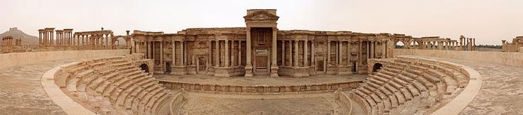 Panoramic view of the Roman theatre in Palmyra.