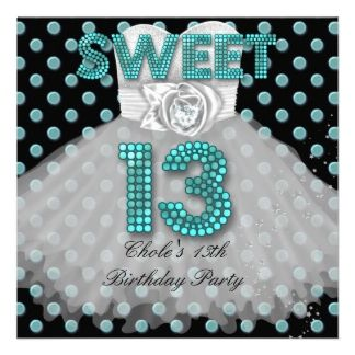 16 best 13th birthday party invitations images on pinterest sweet 13th birthday party girls 13 teen teal blue invitation filmwisefo