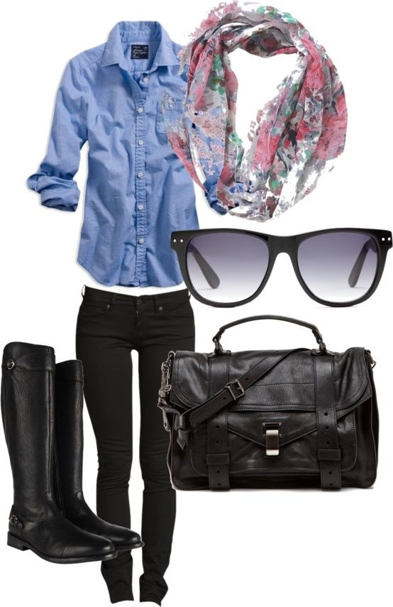 love this outfit: Black Skinny, Jeans Shirts, Casual Fall, Chambray Shirts, Black Boots, Denim Shirts, Fall Outfits, Riding Boots, Black Jeans