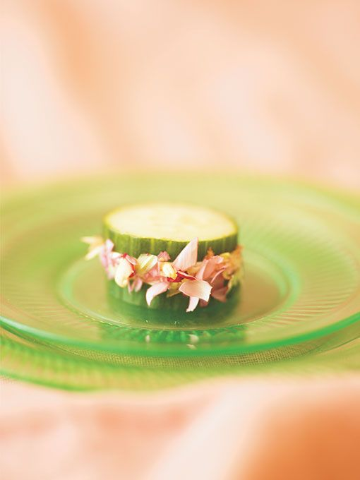 Cucumber Sandwich - smoked salmon mousse and a 'garland' of edible pink carnation petals - Hors d'Oeuvres Guide