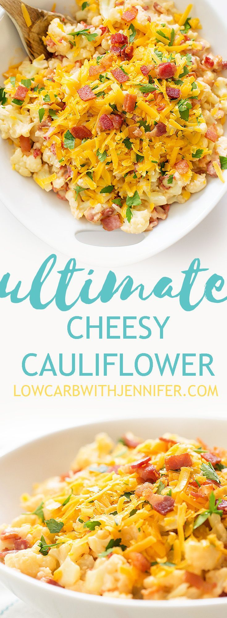The Ultimate Creamy Bacony Cheesy Cauliflower. Say goodbye to bland cauliflower and make this cheesy bacony goodness stat.