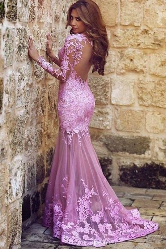 Sexy Pink Long Sleeve Mermaid Backless Evening Gown Formal Dresses - TheCelebrityDresses