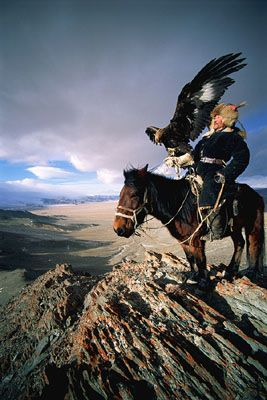 The Golden Eagle Hunters of Mongolia. these are very large birds...are they thunderbirds?