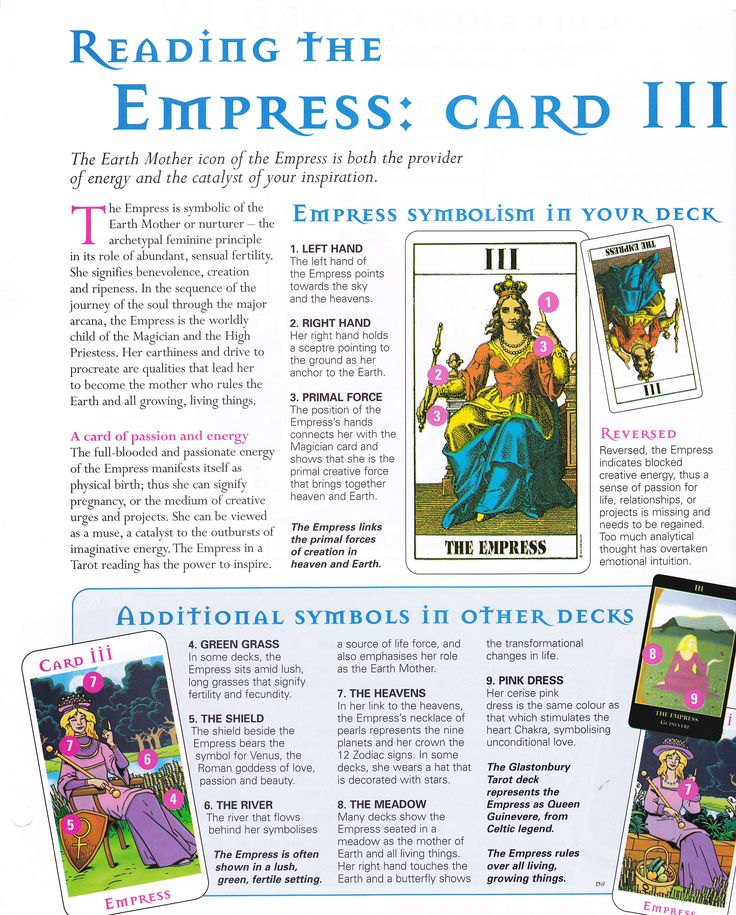 Reading the Empress card                                                                                                                                                                                 More