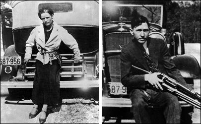 Bonnie and Clyde: Each Sitting on a Car - Clyde Champion Barrow and his companion, Bonnie Parker, were shot to death by officers in an ambush near Sailes, Bienville Parish, Louisiana on May 23, 1934, after one of the most colorful and spectacular manhunts the nation had seen up to that time.