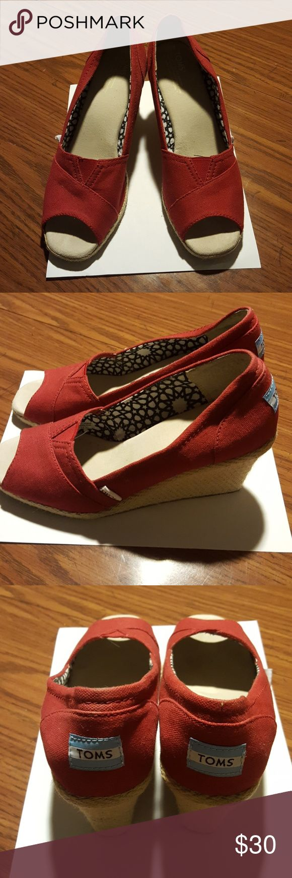 Women's open toe shoes TOM'S Red canvas open toe shoe with medium wedge heel. Great condition. toms Shoes Wedges