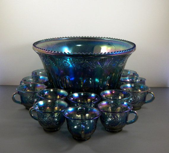 Indiana Blue Carnival Glass Punch Bowl Set With 12 Cups
