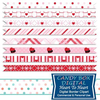 Heart To Heart Valentine's Day Border Clipart by Candy Box Digital. Great ribbon border clip art for blogs, websites, digital scrapbooks and journals, etc.